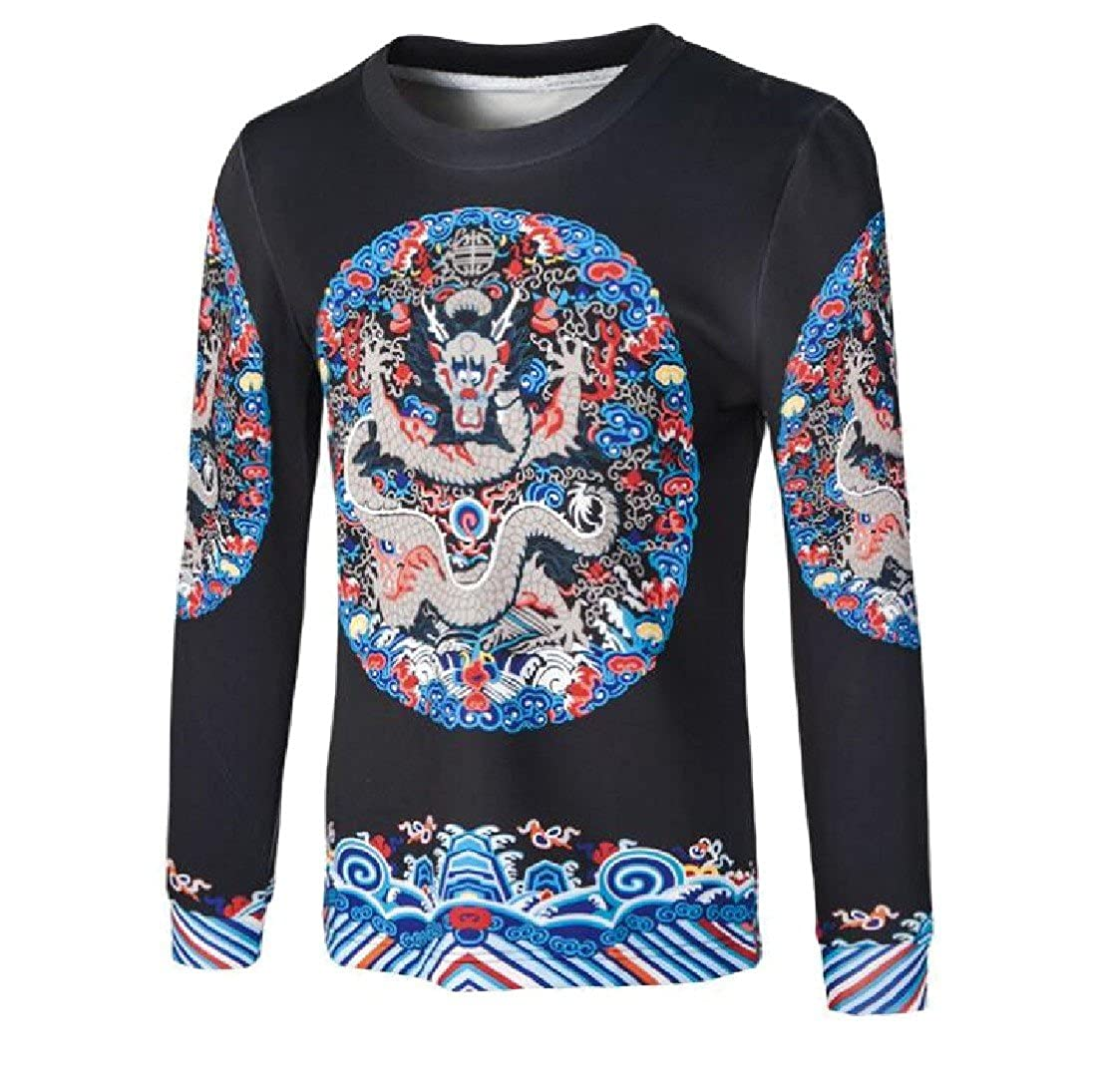Nicelly Mens Chinese style Floral Pullover Plus Size Crew Neck Sweatshirt Black L
