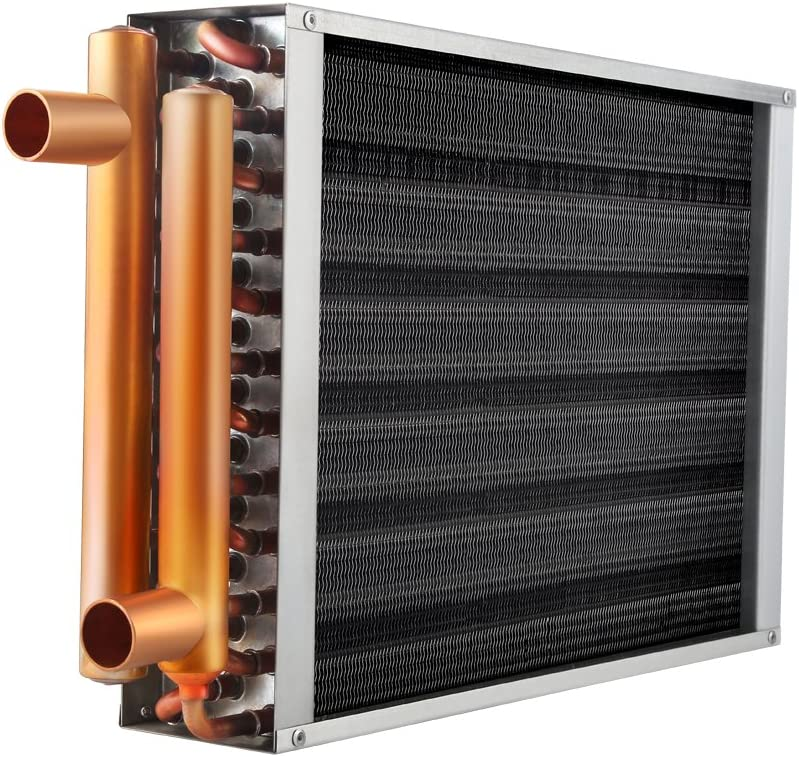 "Water to Air Heat Exchanger 1"" Copper Ports for Outdoor Wood Furnaces, Residential Heating and Cooling, and Forced Air Heating (22x24)"