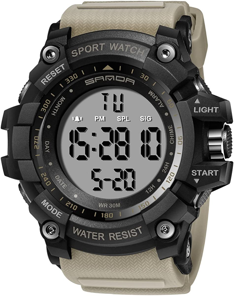Mens Watches Big Face Military Digital Tactical LED Display Sport Outdoor Stopwatch Grey
