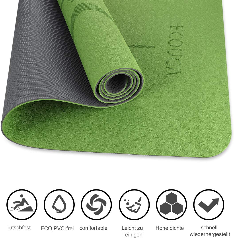 Yogamatte Rutschfeste TPE ECO Gymnastikmatte f/ür Yoga K/ühlendes Handtuch PVC-FREI hypoallergen Pilates und Fitness Sportmatte mit Yoga-Gurt 6mm umweltfreundlich Design Hilfslinien Unisex Fitness Matte 183 x 66cm