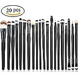 Leisial - Set di 20 pennelli da trucco, per applicazione di fondotinta, fard, trucco per le sopracciglia, gli occhi (Nero)