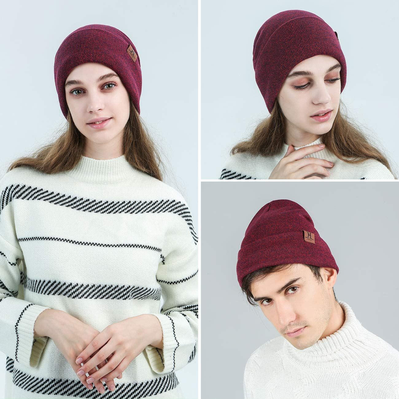 Maylisacc 1//2 Pack Winter Daily Cuff-Beanie Hats Knit Skull-Caps for Men and Women with Warm Fleece Lining Unisex