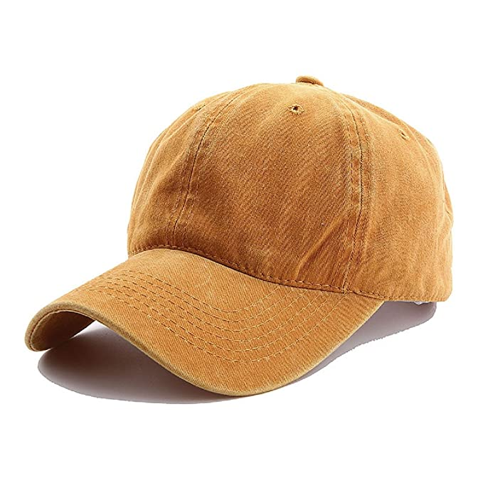 065ed14fc71 Yusongirl Vintage Washed Twill Cotton Baseball Cap Classic Dad Hat  Adjustable Low Profile Unisex (Yellow)  Amazon.ca  Clothing   Accessories