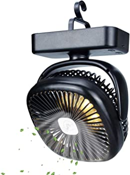Tomnew Portable Camping Fan with LED Lights
