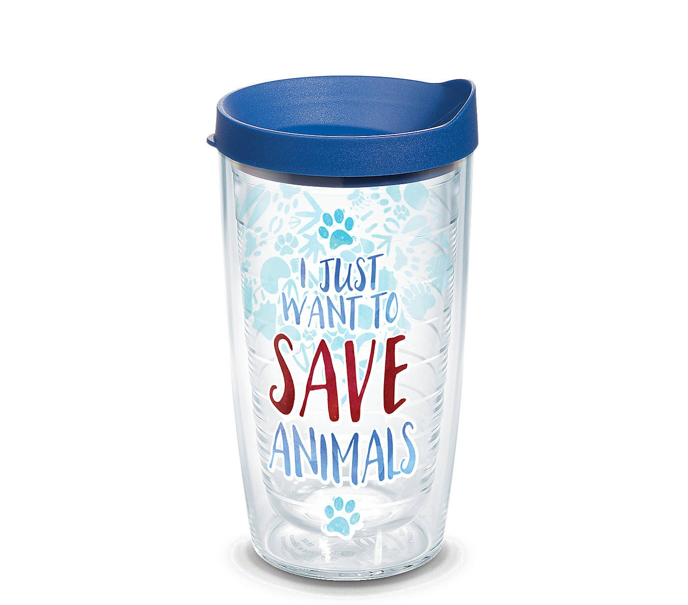 Tervis 1247354 Save Animals Tumbler with Wrap and Blue Lid 16oz, Clear