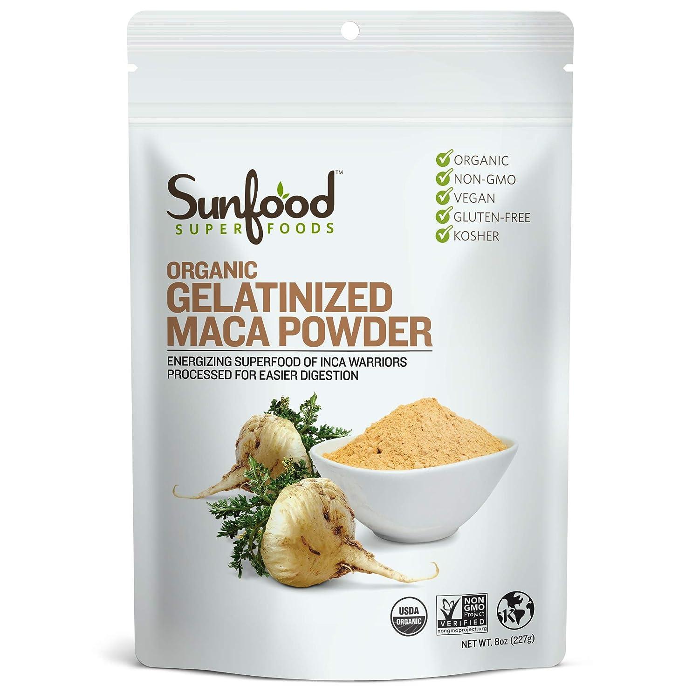 Sunfood Superfoods Gelatinized Maca Powder Organic 8 oz Bag
