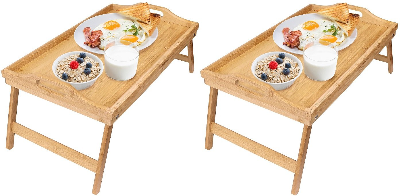 Greenco Bamboo Foldable Breakfast Table, Laptop Desk, Bed Table, Serving Tray (Pack of 2)