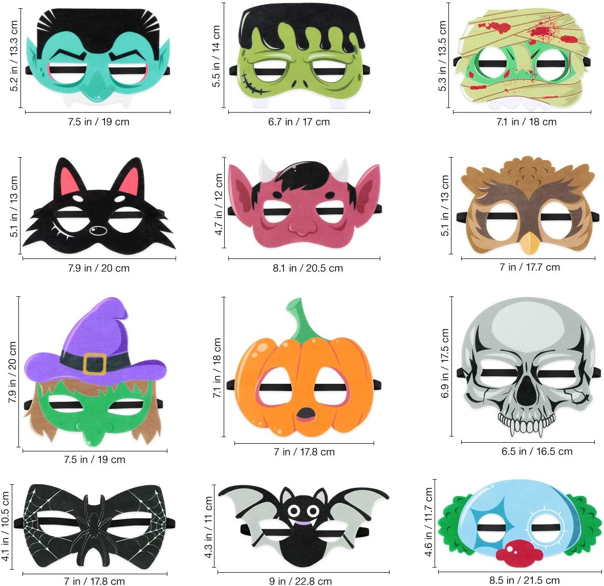 Halloween Superhero Foam Mask Cartoon Witch Monster Bat Spider Felt Masks for Kids Halloween Party Favors 12 Pieces