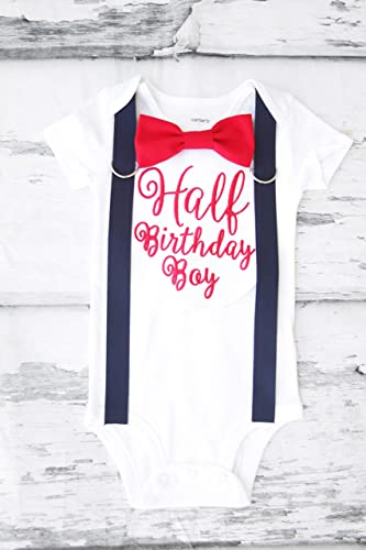 12d3f53f6 Boy 6 Months birthday Outfit half birthday Boy 6 Months birthday Outfit half  birthday red and navy Outfit birthday boy cursive half birthday outfit  birthday ...