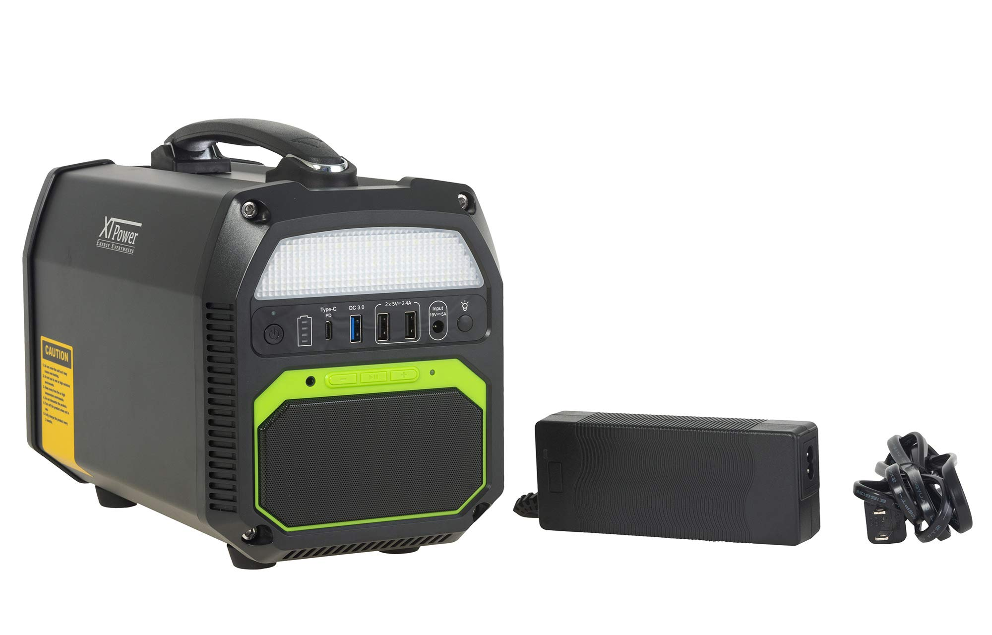 XTPower XT-460Wh Portable Energy Storage with 462Wh/ 124,800mAh and AC/DC/USB Outputs, Bluetooth Speaker and Built-in Flashlight by XTPower