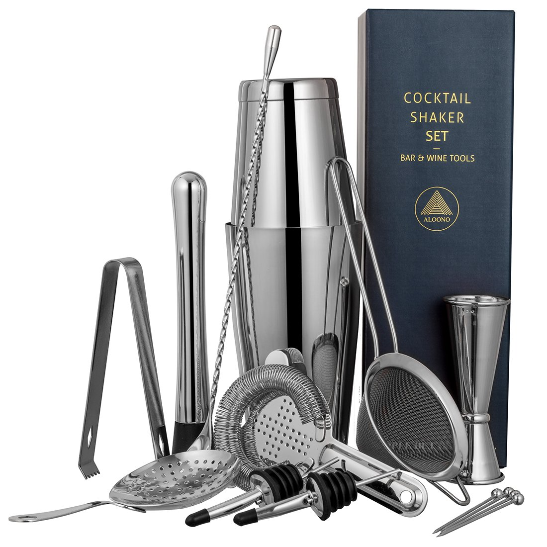 15-piece Cocktail Shaker Bar Set: 2 Weighted Boston Shakers, Cocktail Strainer Set, Double Jigger, Cocktail Muddler and Spoon, Ice Tong, 2 Liquor Pourers and 4 Cocktail Picks