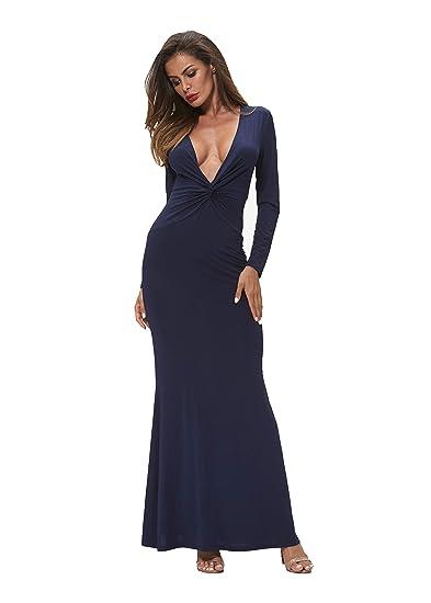 bd033c74ec24 C.U.SOON Women s Long Sleeve Deep V-Neck Maxi Dresses