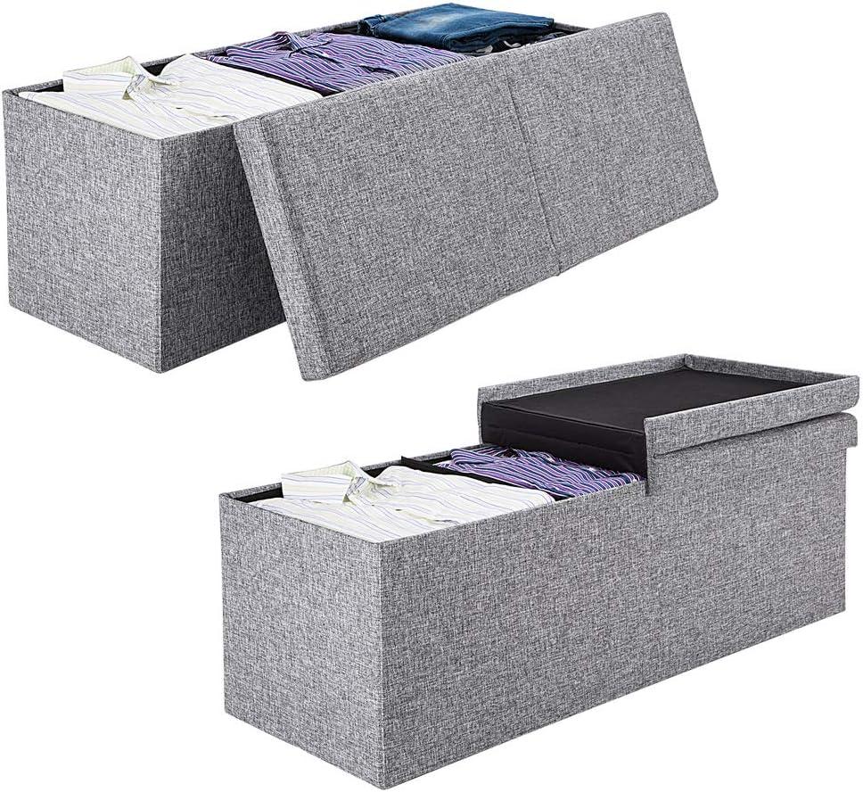 Deuba 2en1 ba/úl cajon de almacenaje y banco Blanco 100L tapa plegable asiento acolchado repelente al agua 80x40x40cm