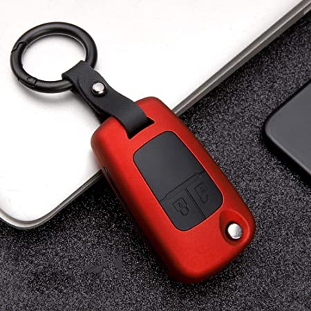Ontto 2 Taste Klapp Autoschlüssel Hülle Abdeckung Für Opel Astra J Corsa Mokka Meriva Insignia Und Chevrolet Abs Silikon Schlüsselhülle Schlüsselanhänger Schlüsselbox Schlüsselschutz Rot Auto