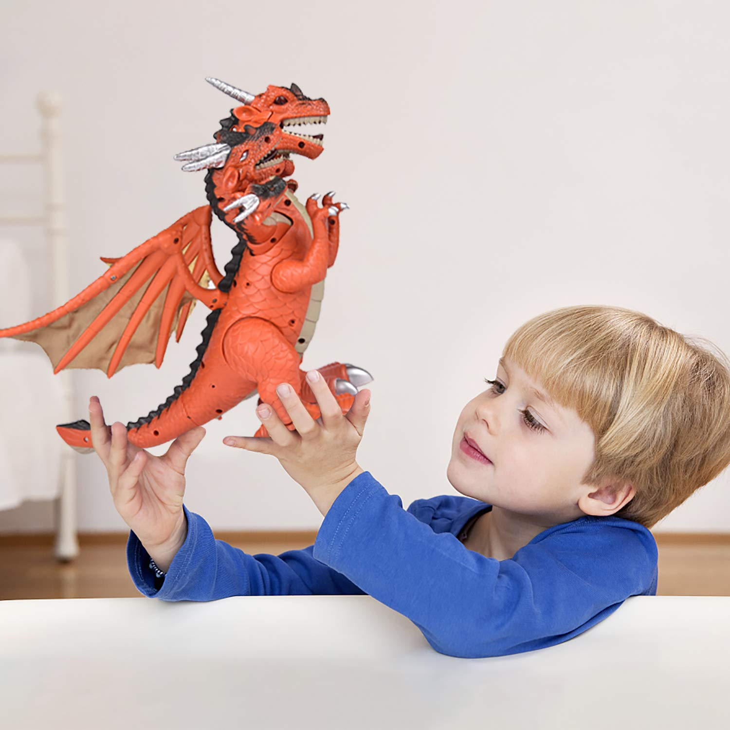 Dragon Toys for Boys, Seven Heads Walking Dragon 11.8''(L)×11.4''(H) Large Size with Lights and Sounds by FUN LITTLE TOYS (Image #4)