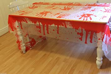 CRAVOG LARGE BLOODY TABLE CLOTH COVER HALLOWEEN BLOOD STAINED FANCY PARTY 137cm x 274cm