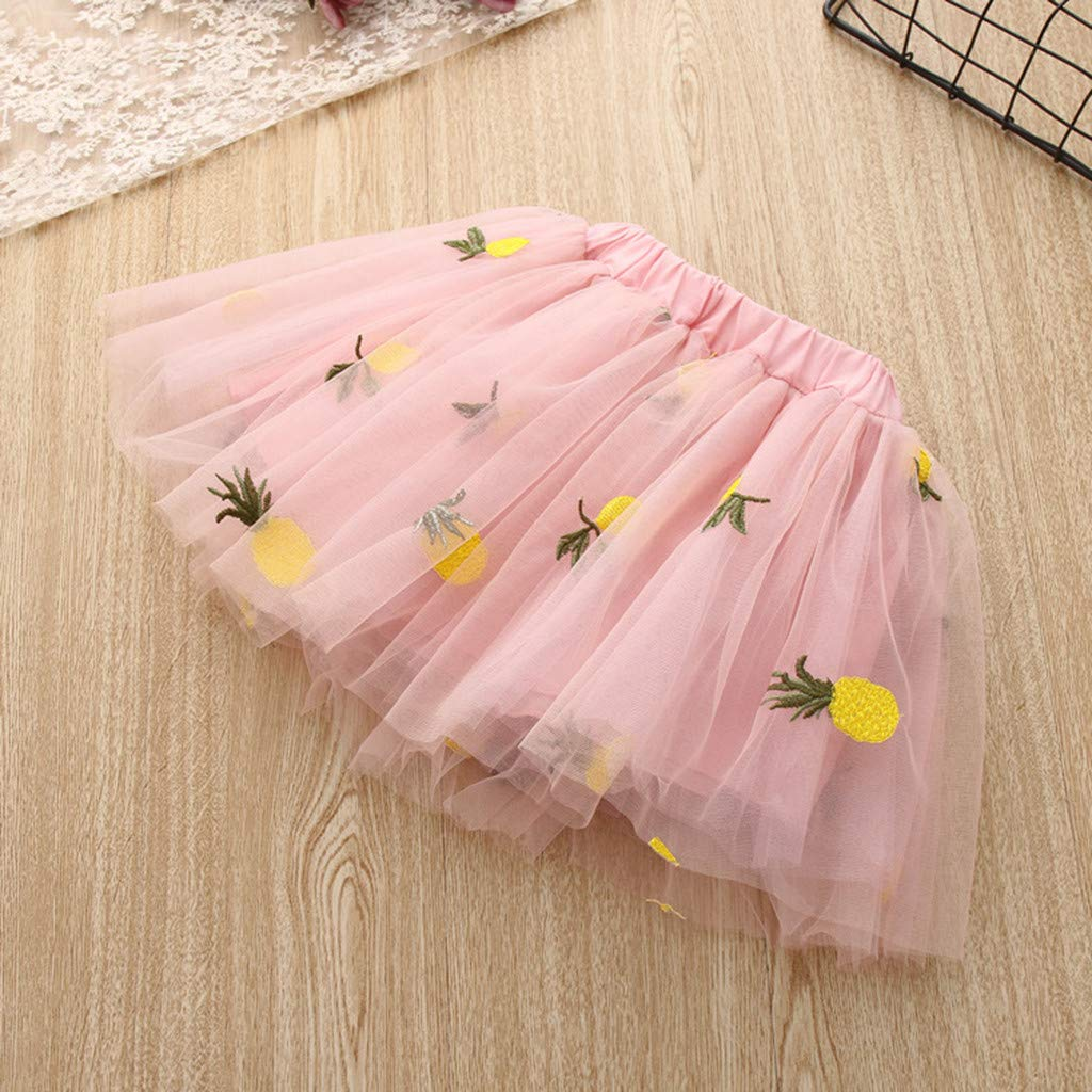 Baby Girls Dress 2pcs Set, Toddler Short Sleeve Tops T-Shirt+Pineapple Tutu Skirt Outfits Clothes (4-5 Years, Pink) by Hopwin Baby girls Suits (Image #4)