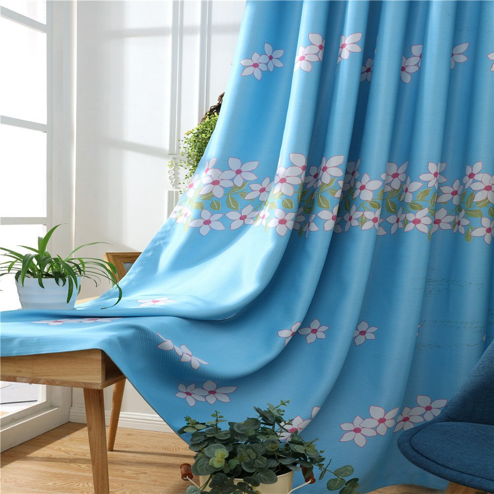 LIYAXUN Peach Blossom Black Silk Shade Cloth Thermal Insulated Blackout Grommet Top Multi Sizes Energy-saving Environmental Protection Customed Curtains//Drapes 42 W x 63 L One Panel ,Blue