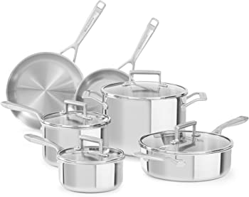 KitchenAid KC2TS10ST 10 Piece Tri-Ply Cookware Set