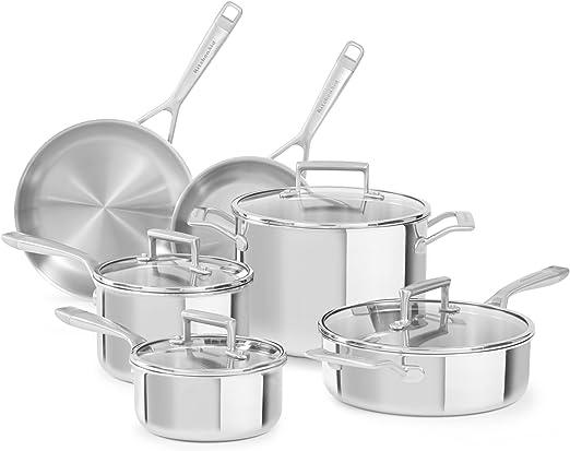 Amazon Com Kitchenaid Kc2ts10st 10 Piezas Tri Ply Utensilios De