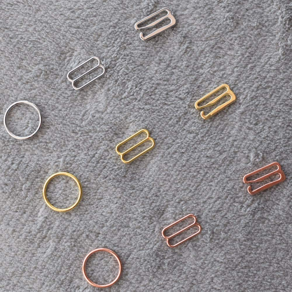 Buckes - Wholesale 100pcs/lot Silver/Gold/Rose Gold Metal Bra Strap Rings Sliders and Hooks Bra Making Materials 6mm/8mm/10mm/12mm/15mm - (Size: 6mm, Color: Rose Gold) by Lysee