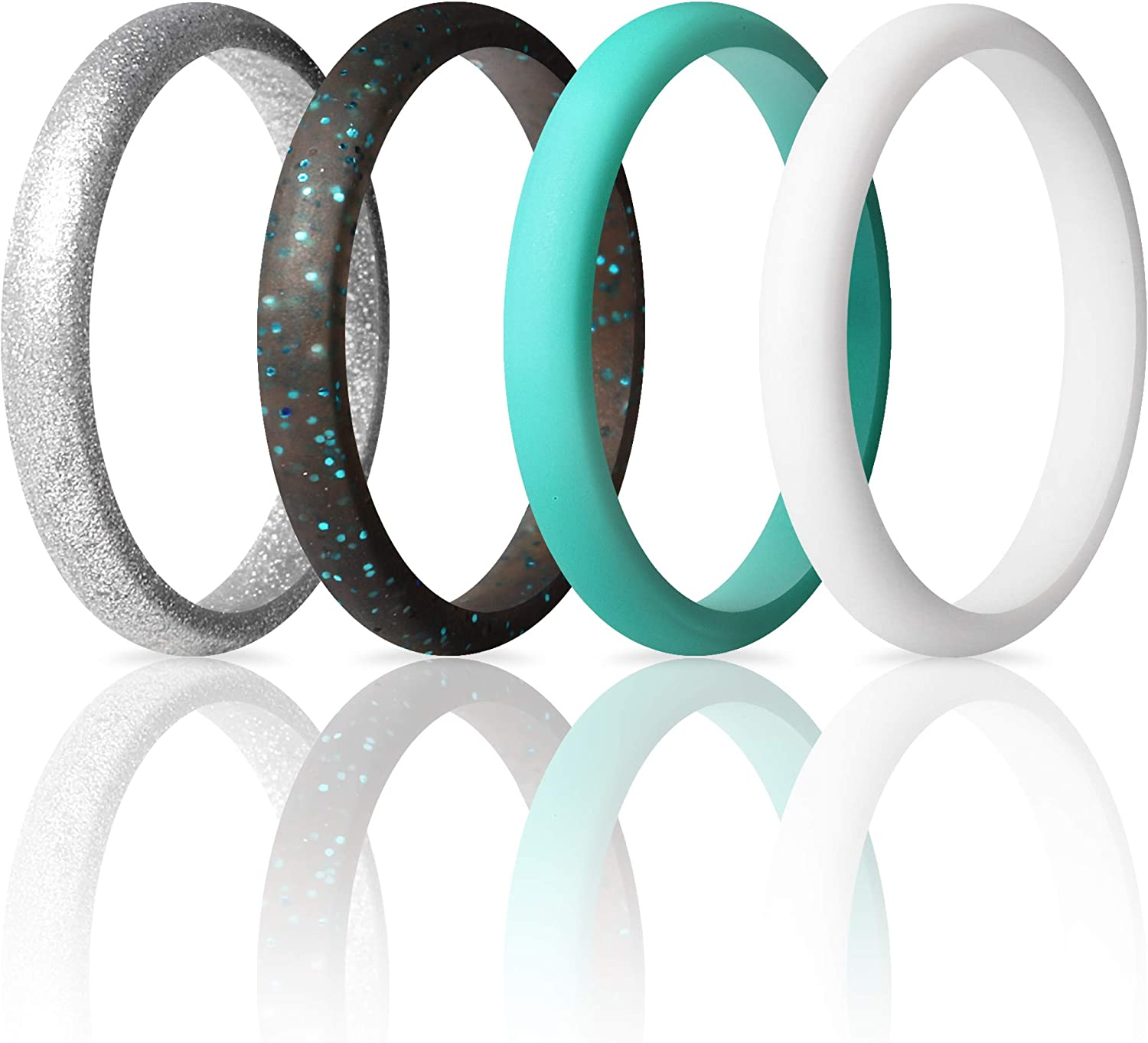 ThunderFit Women's Thin and Stackable - Silicone Rings Wedding Bands 2.5mm Width - 2mm Thick