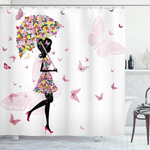 Amazon Com Ambesonne Feminine Shower Curtain Girl With Floral