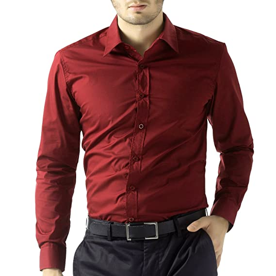 cdf51a17f4a BEING FAB Men s Solid 100% Cotton Regular Fit Casual Maroon Shirt  Amazon.in   Clothing   Accessories