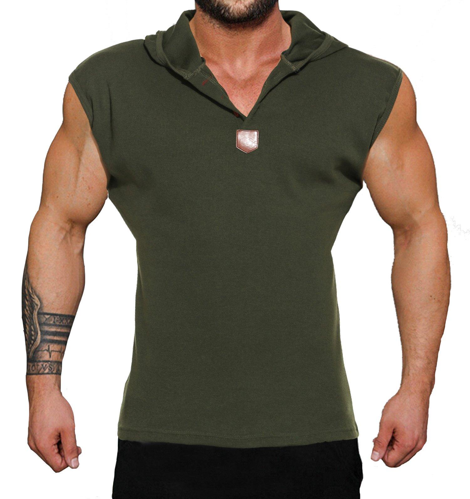 Coofandy Men's Casual Hooded Sleeveless Tank Tops, Green, Medium