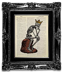 Skeleton King Thinker Statue, Original Artwork, Skeleton Art Poster Wall Decor, Skull Wall Art for Living Room Decoration, Dictionary Art Print, Cool Gift for Man, Gothic Decor Bathroom Bedroom Home