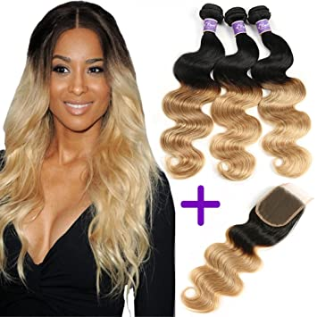 0f5a6039ca57 Amazon.com   Ombre Brazilian Hair 3 Bundles With Closure