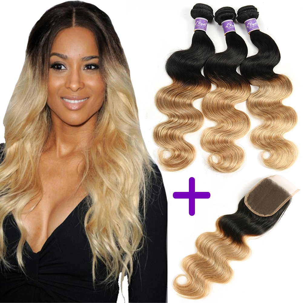 Ombre Brazilian Hair 3 Bundles With Closure, Ombre Human Hair Body Wave 3pcs With Lace Closure (20 22 24+18, #T1B/27)