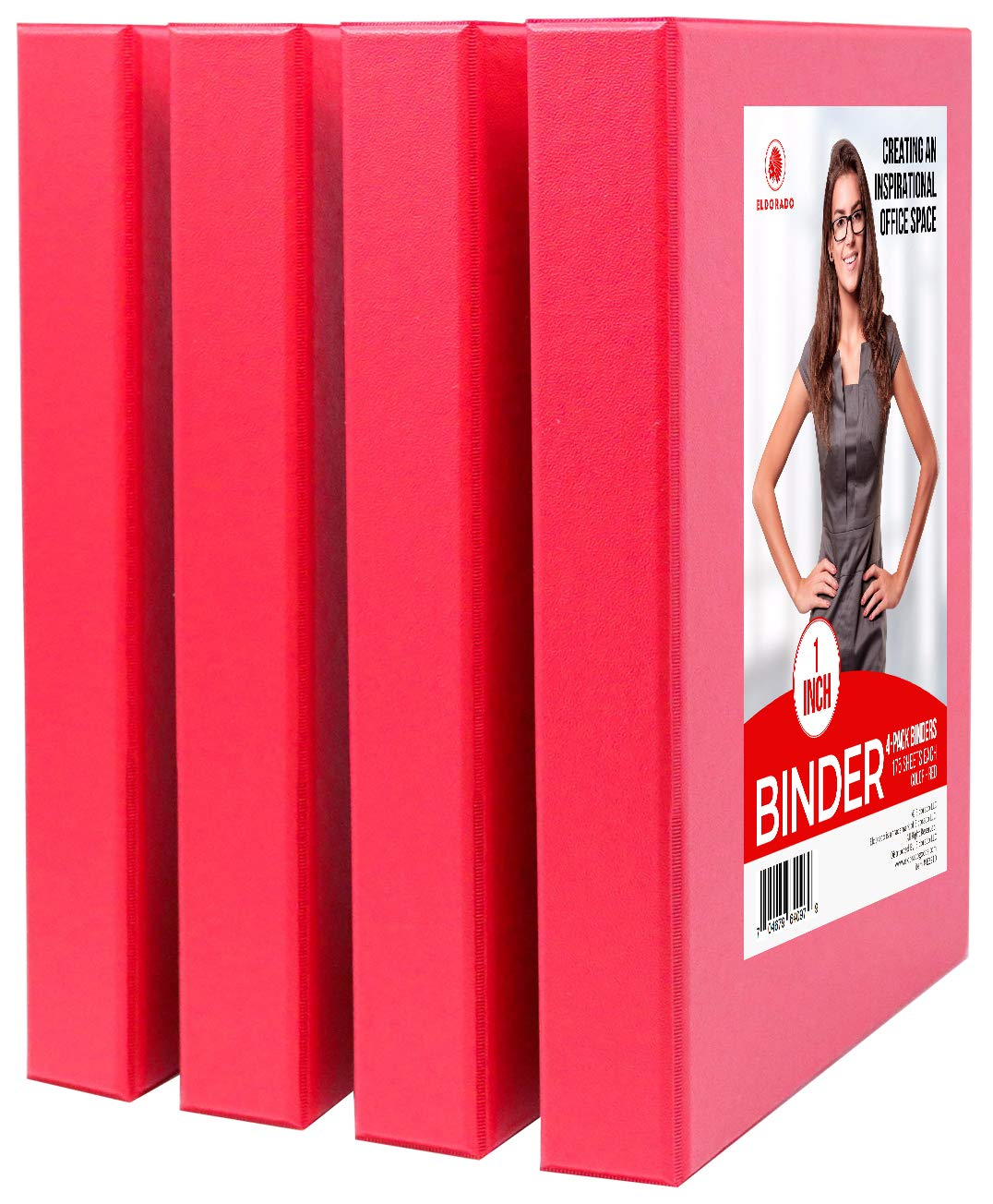 Eldorado Binder - 3 Rings 1 inch in Diameter, for Office, Home, College, Student, Work, Presentation, Project, and Report Use (Red)
