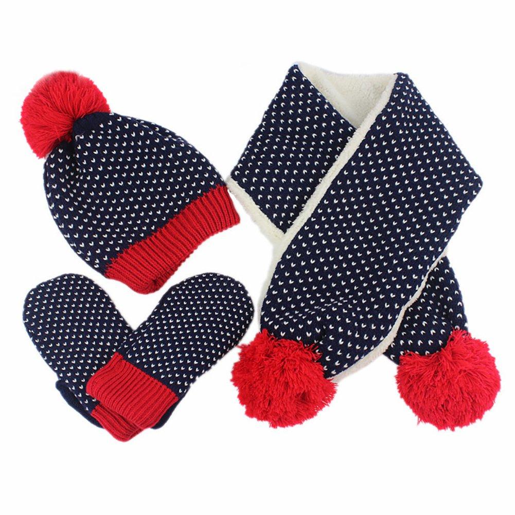 Cozywind 3Pcs Knit Hat Scarf Glove Mitten Warm Winter Accessory Set for Girls Boys 3pcs-dark blue)