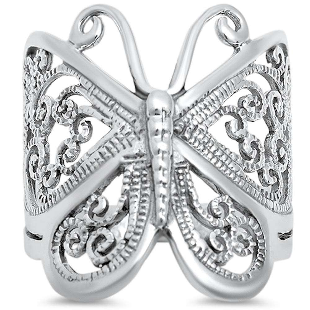 Filigree Butterfly .925 Sterling Silver Ring Size 8