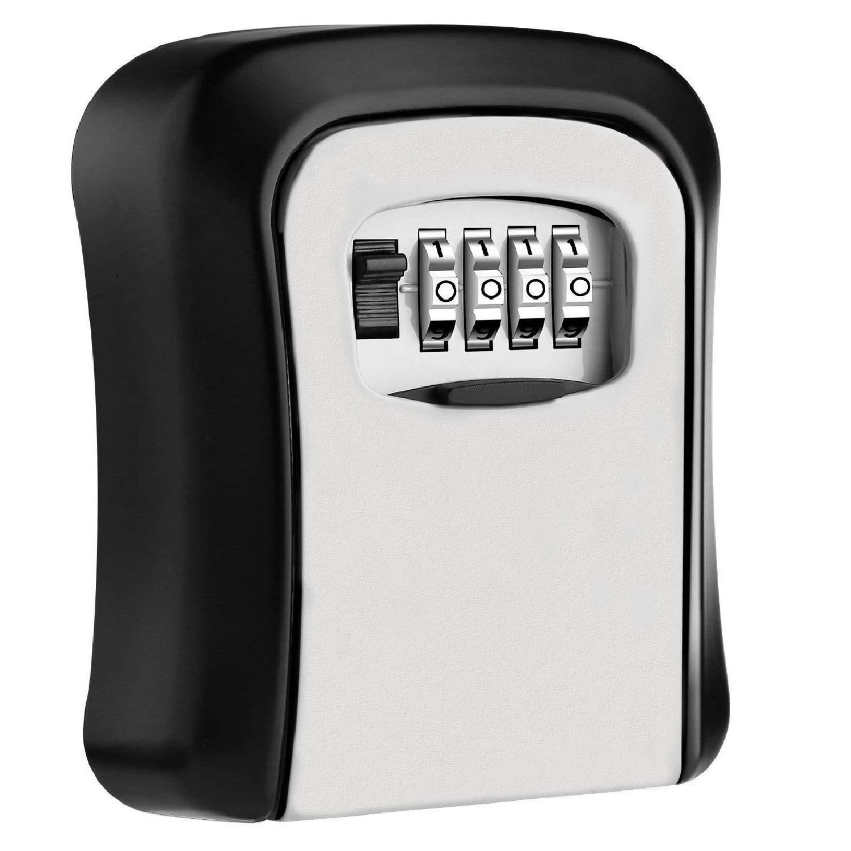 KIPRUN Key Storage Lock Box, 4-Digit Combination Lock Box, Wall Mounted Lock Box, Wall Mounted Key Safe Box/Security Key Holder/Code Storage Case/Cipher Lock Box