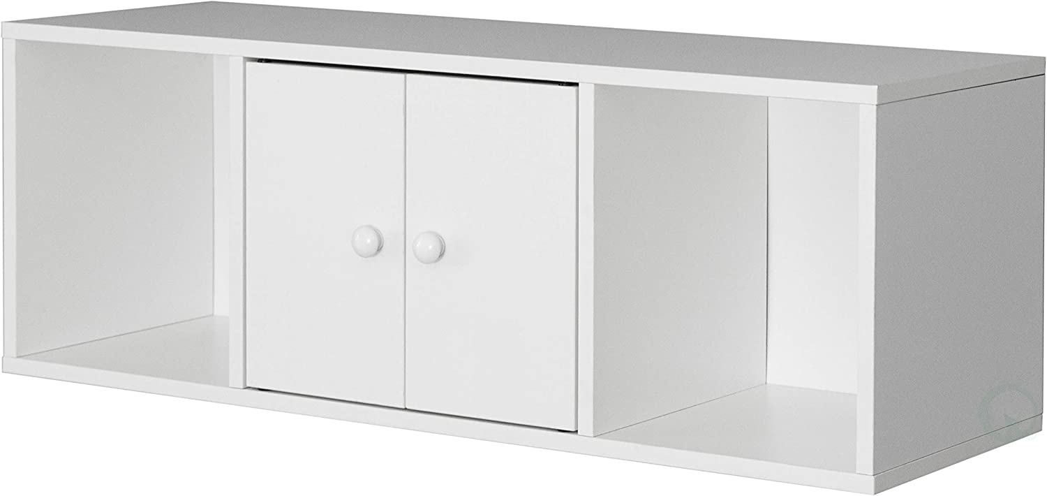 Basicwise Wall Mounted Computer Cabinet Floating Hutch, White