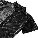 Alvivi Men's Shiny Metallic One Piece Short Sleeves Zipper Leotard Bodysuit Clubwear Costumes Black XX-Large