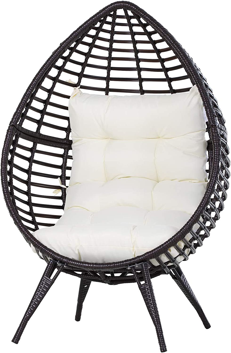 Outsunny Outdoor Indoor Wicker Teardrop Chair With Cushion Rattan Lounger Amazon Co Uk Kitchen Home