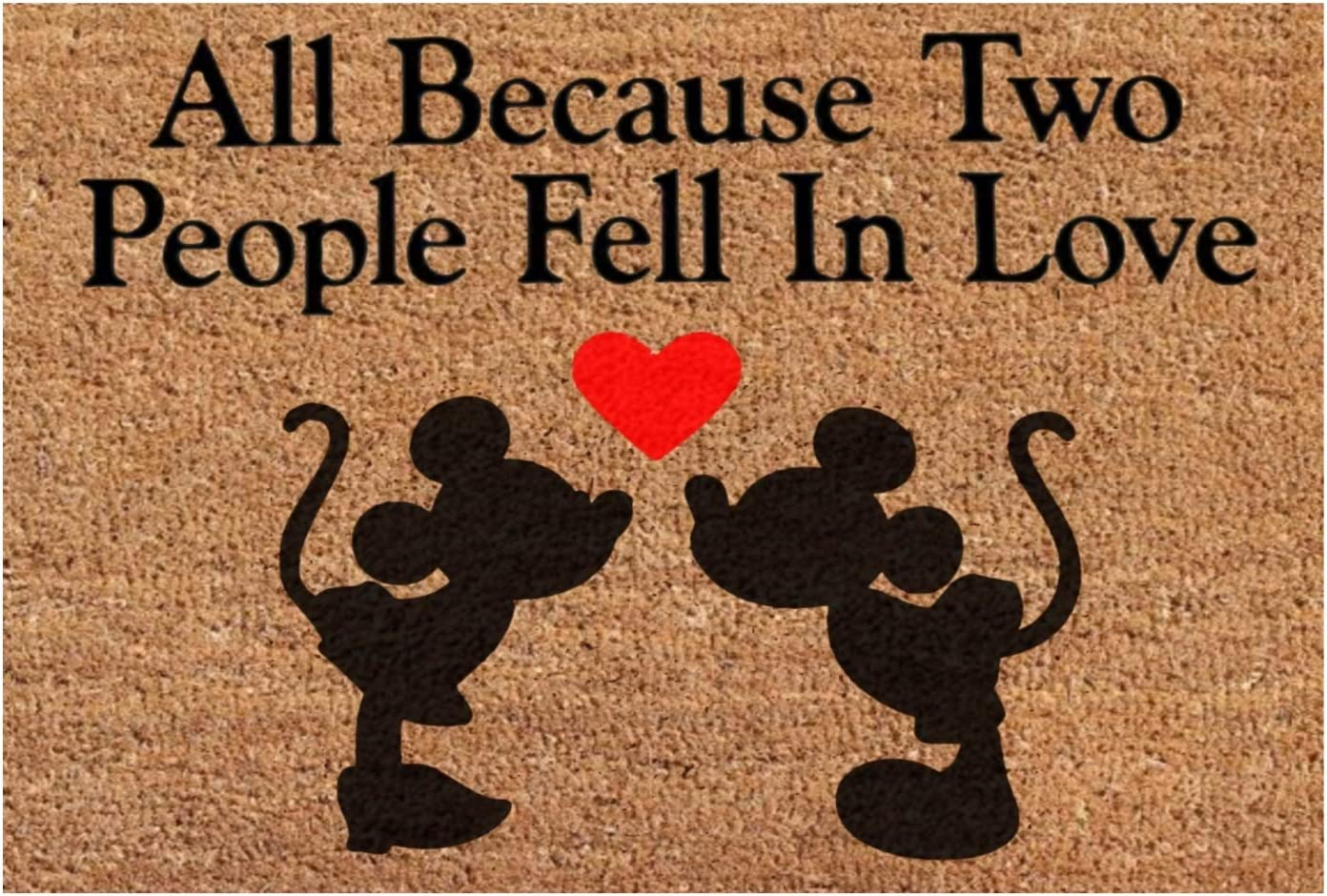 All Because Two People Fell in Love – Mickey Minnie Mouse Heart – Funny Saying Home Decor Doormat – Housewarming Wedding Anniversary Front Door Mat Rug