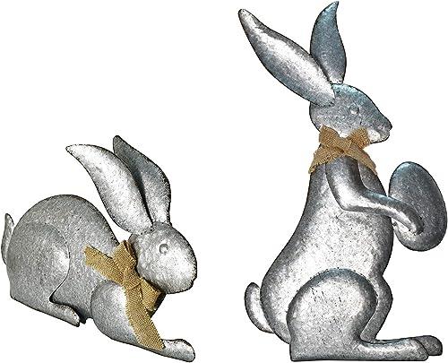 Metal Bunny Garden Decor Spring Easter Bunny Rabbits Outdoor Garden Statue Galvanized Metal Rabbit Rustic Easter Bunny Egg Yard Decoration