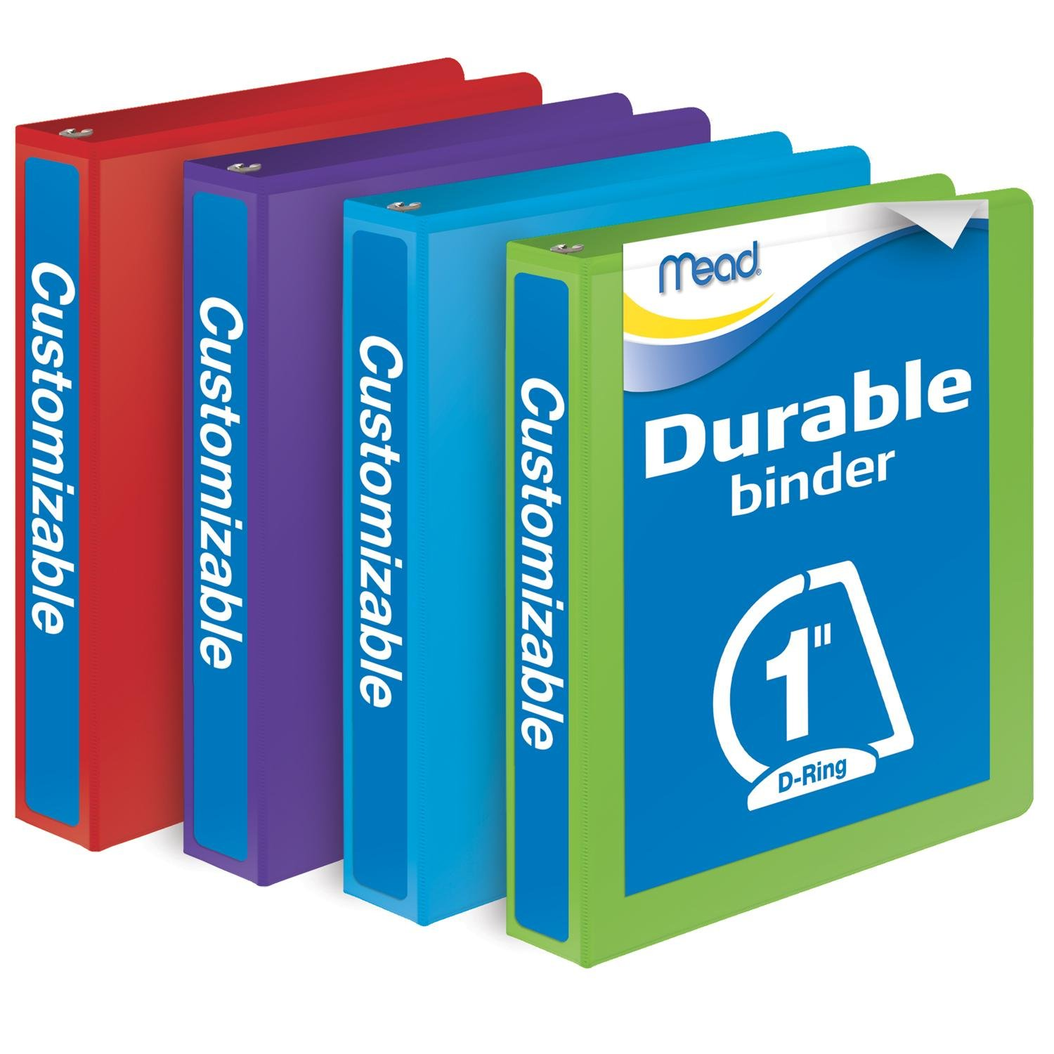 Mead 1 Inch Binders, D Ring Binder, Durable, Customizable, Assorted Colors, 4 Pack (W465-14APP)