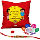"""Indigifts Laddu And U Look Same Quote Printed Satin Red-Yellow Cushion Cover 12X12"""" With Filler,Crystal Rakhi,Roli,Chawal,Greeting Card For Men/Boys"""