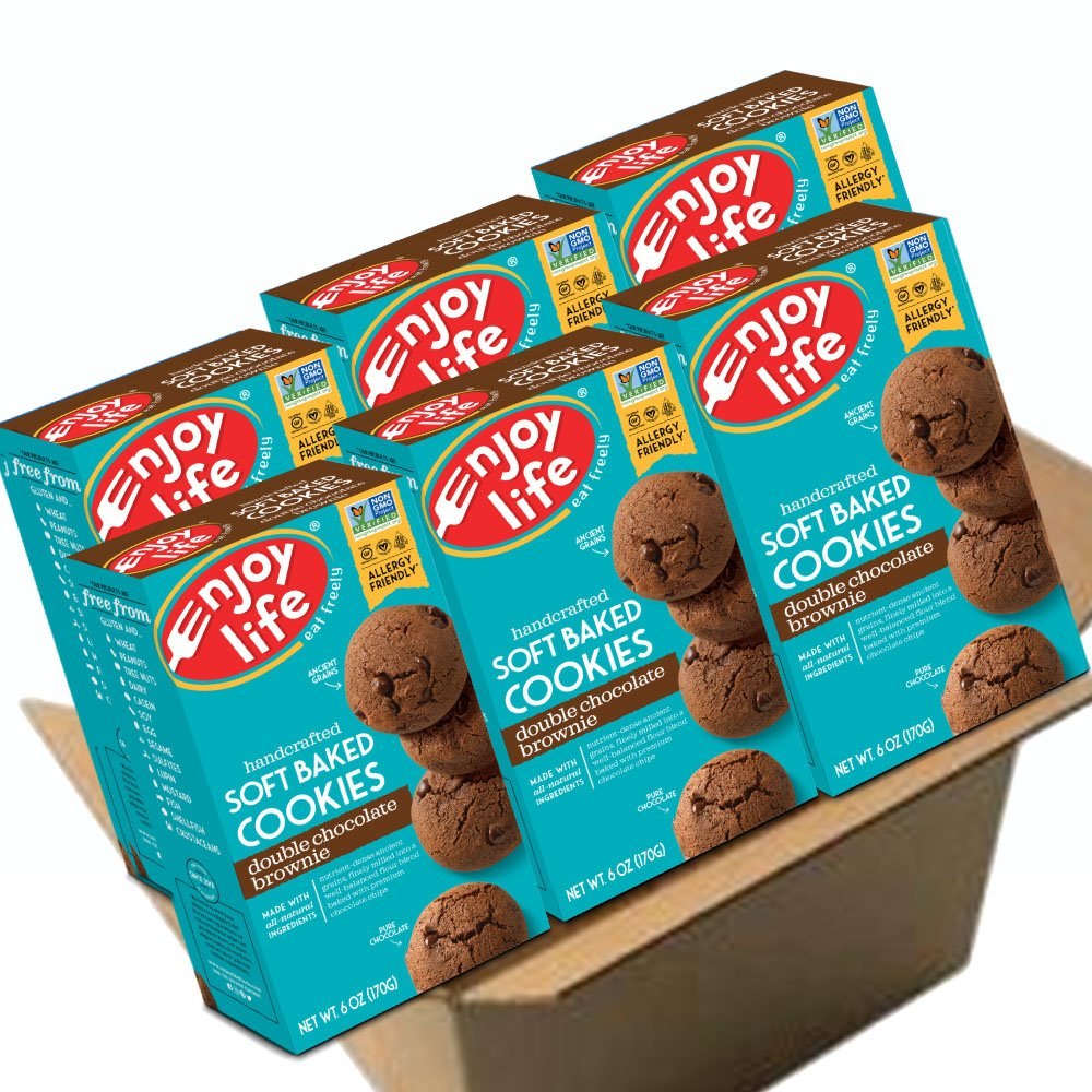 Enjoy Life Soft Baked Cookies, Soy free, Nut free, Gluten free, Dairy free, Non GMO, Vegan, Double Chocolate Brownie, 6 Boxes by Enjoy Life Foods