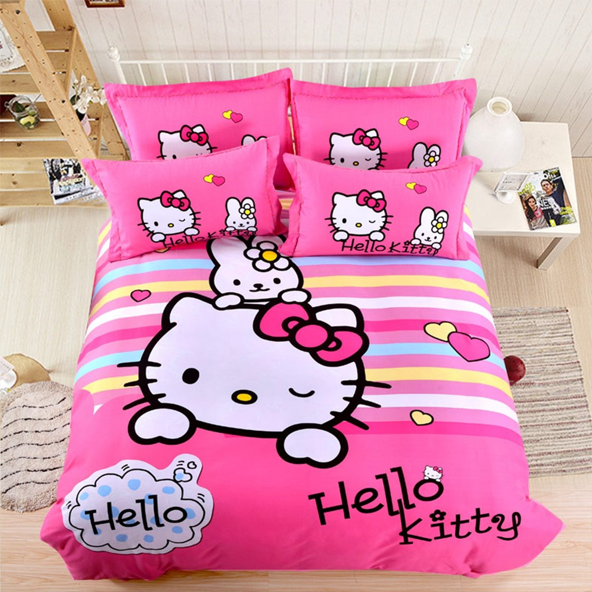 CASA 100% Cotton Brushed Kids Bedding Girls Hello Kitty Duvet Cover Set & Flat sheet,4 Piece,King