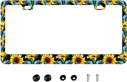 Style In Print Sunflowers Pattern Auto Car License Plate Frame Tag Holder 4 Hole