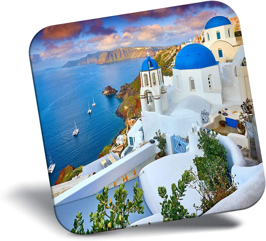 Destination Vinyl ltd Awesome Fridge Magnet - Greece Santorini Island Houses 16582