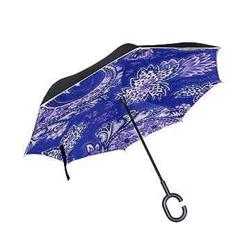 jstel doble capa invertido Cachemira paraguas coches Reverse resistente al viento lluvia paraguas para coche al
