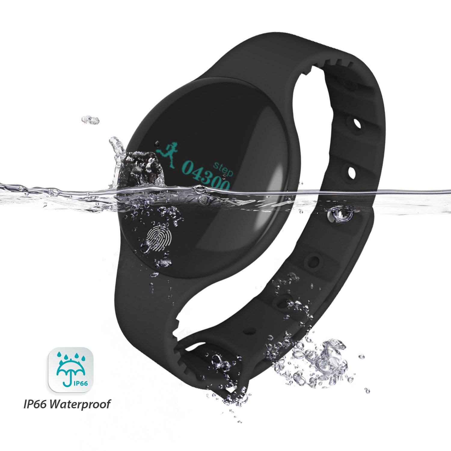 Fitness Tracker, Vafru Smart Waterproof Fitness Watch with Activity Tracker, pedometer,Touch Screen Wearable Bluetooth Smart Band for Android & iOS (Black)
