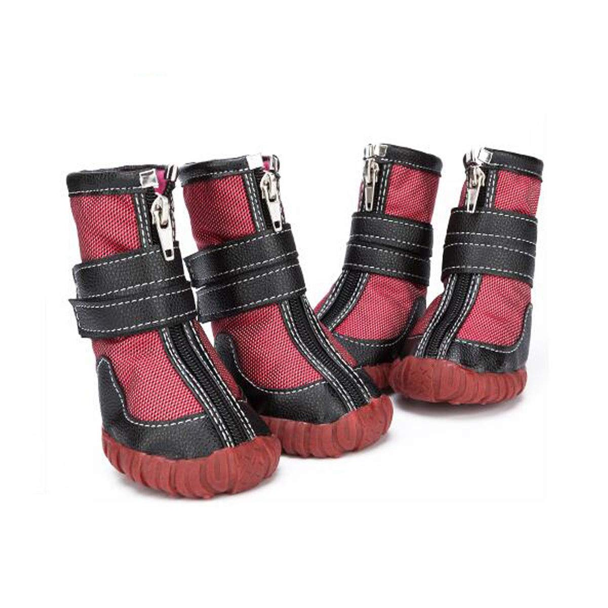 Red 12  Red 12  Dog shoes, Dog Rain Boots, Waterproof shoes, Breathable shoes, Large Dogs, Waterproof Non-Slip shoes, Pet Supplies, Red, bluee, Brown 9 -12  (color   Red, Size   12 )